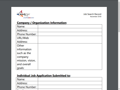 Printables Job Search Worksheet illinois open educational resource detail 1