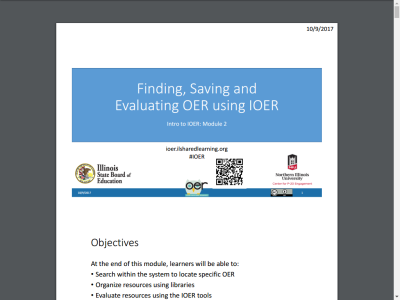 Thumbnail for Finding, Saving and Evaluating OER Using IOER resource