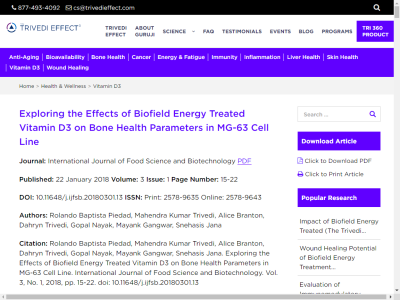 eefb6b6ca Exploring the Effects of Biofield Energy Treated Vitamin D3 on Bone Health  Parameters in MG-63 Cell Line